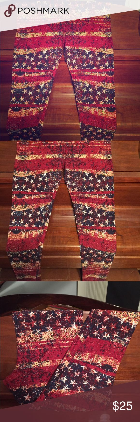Stars & Stripes TC leggings by Lularoe, New Stars & Stripes TC leggings by Lularoe, New without tags, never washed or worn.  Americana collection. LuLaRoe Pants Leggings
