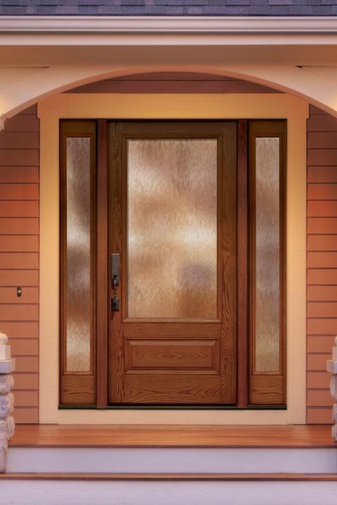 Thermatru Classic Craft Oak Fiberglass Door Style With Sidelite: Glass:  Granite Privacy Stain: Cedar