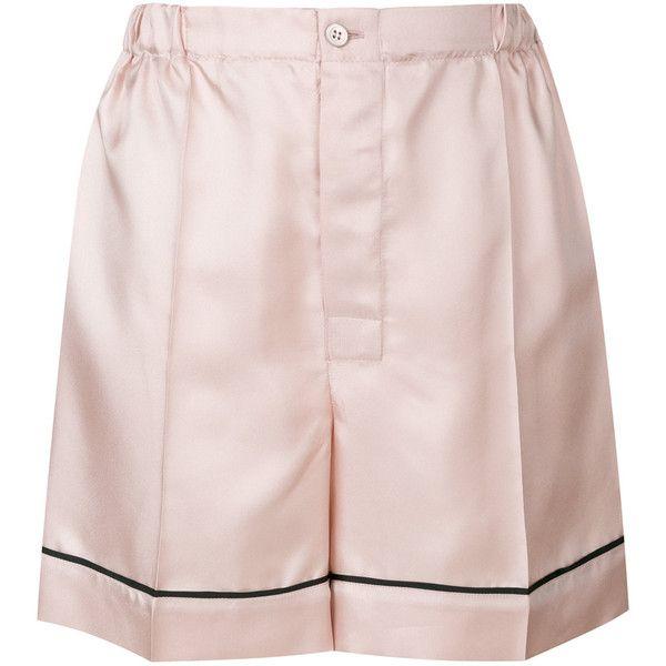 Prada satin pijama shorts (£495) ❤ liked on Polyvore featuring shorts, prada shorts, pink shorts, elastic waistband shorts, stretch waist shorts and short shorts