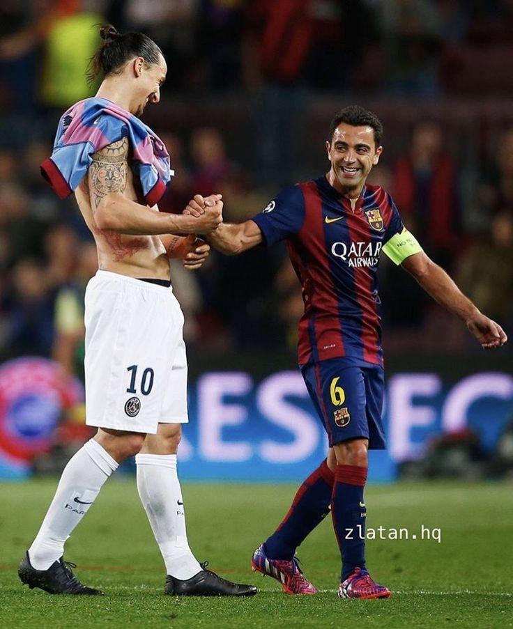 zlatan greeting xavi after psg vs. barcelona match (2015)