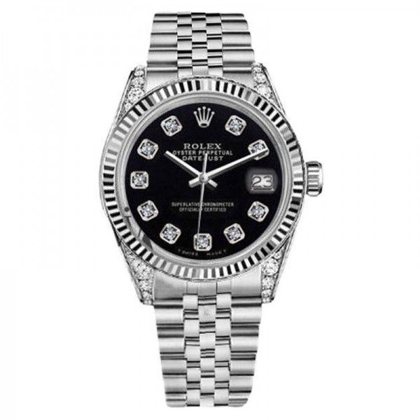 Pre-owned Rolex Datejust Black Color Dial with Diamonds Womens Watch... found on Polyvore featuring jewelry, watches, diamond watches, pre owned jewelry, rolex watches, preowned jewelry and diamond jewellery