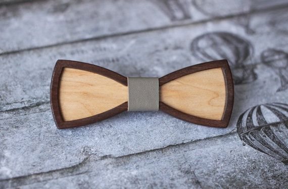 Wooden Bow Tie 3D with Gray leather. Standard size от BuffBowTie