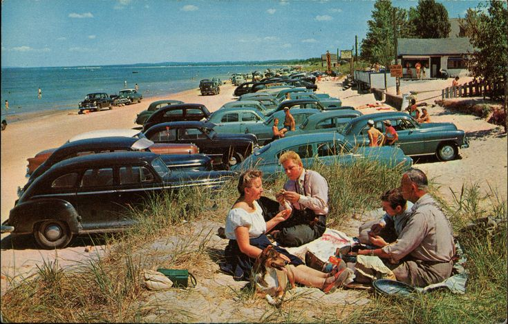 Beach Scene And Picnickers, Ontario