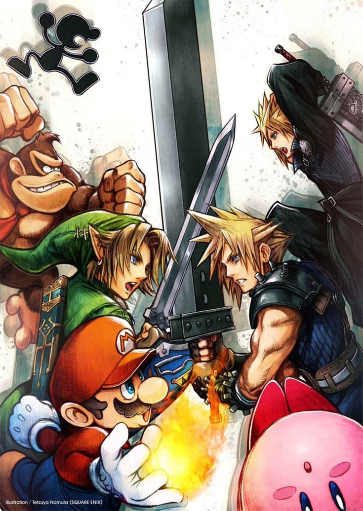 Tetsuya Nomura official Super Smash Bros poster or wallpaper featuring Final Fantasy VII Cloud and Legend of Zelda Link