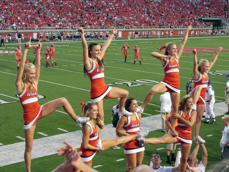 CHEER collegiate University of Utah cheerleaders Utes college cheerleading, pyramid stunt football moved from Cheerleading: Utah Schools: BYU, Utah, UVU, Weber, USU (Aggies, Utes, Cougars) board http://www.pinterest.com/kythoni/cheerleading-utah-schools-byu-utah-uvu-weber-usu-a/ #KyFun