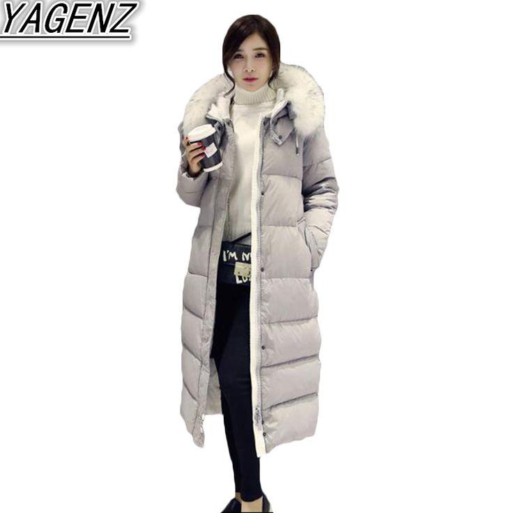 Winter Big fur collar Hooded Jacket Coat Women 2017 Fashion Cotton clothing Women Middle-long Cotton Overcoat Female Padded Coat