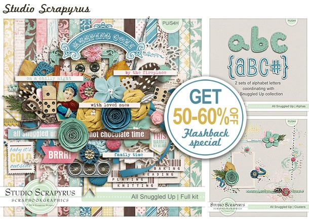 Here is the first Flashback Sale for 2015! You can't beat getting up to 60% off for this stunning kit all about cozy winter fires, snuggling up with a mug of hot cocoa and just enjoying those indoor hobbies with friends and family! These soft colors lend themselves to many themes and your photos can be framed by so many gorgeous elements. Don't miss the special pricing on this previously released collection. On sale until 30th January 2015