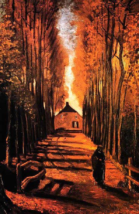Pinterest : mutinelolita //// Vincent Van Gogh - Post Impressionism - Allée de Peupliers - Nuenen - 1884