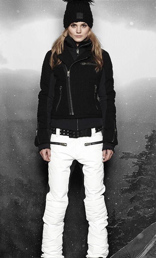 Women's ski wear | Winter fashion | Black ski jacket | White ski pants...