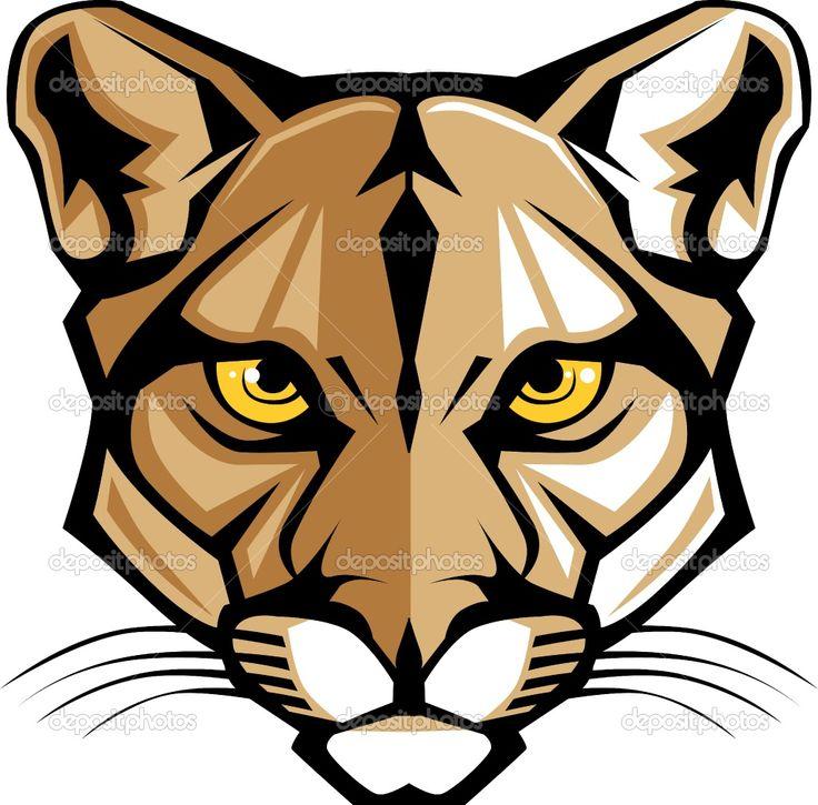 Cougar Head Clip Art | Cougar Panther Mascot Head Vector ...