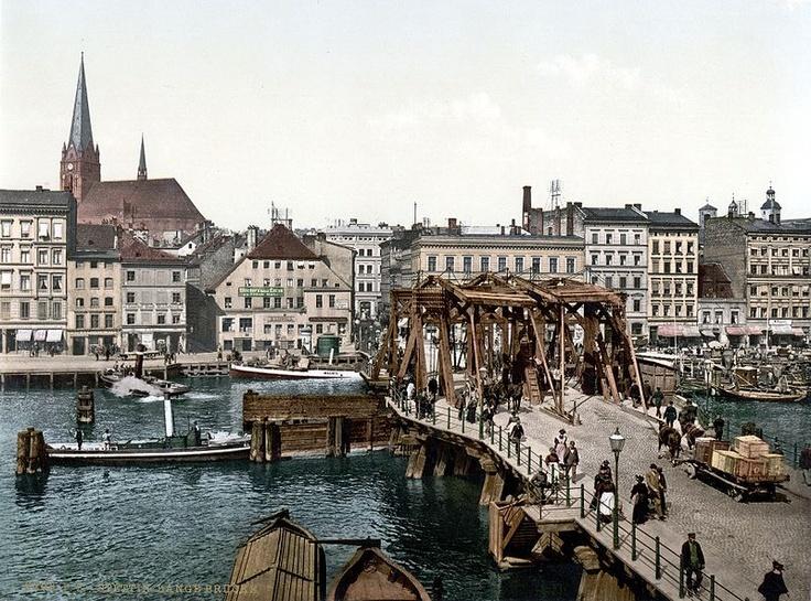 Stettin: Blick über die Stadt mit der Langen Brücke im Vordergrund ca 1900
