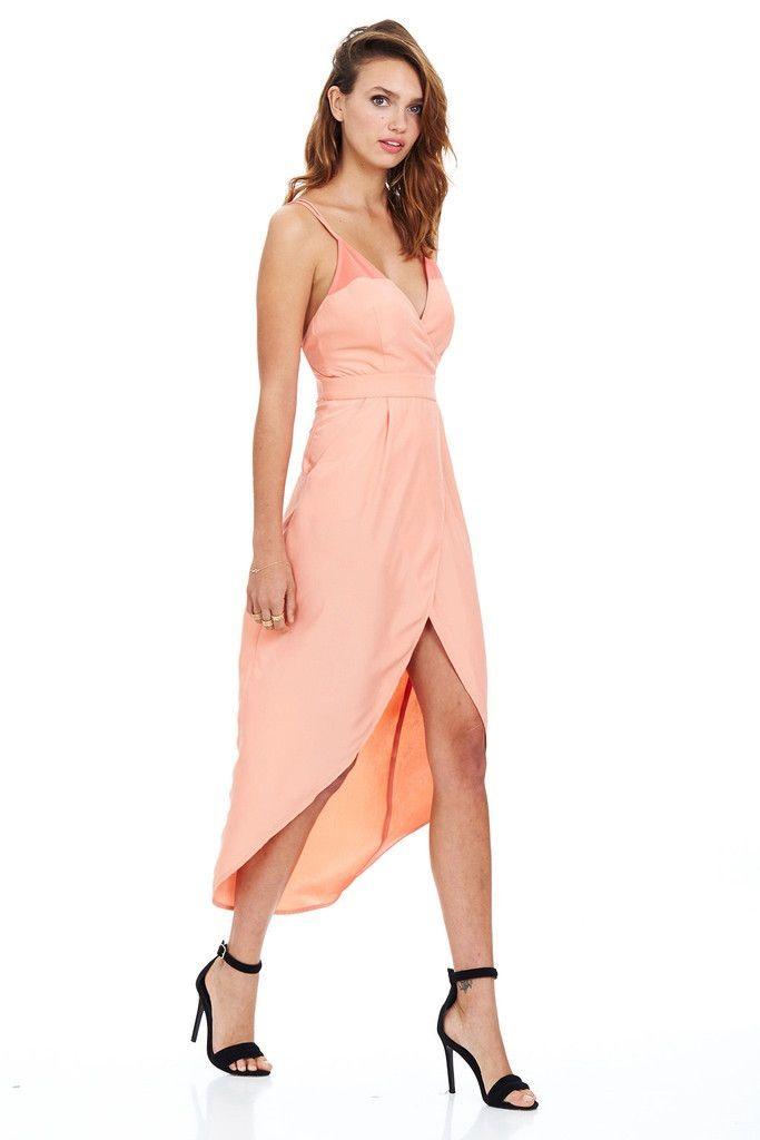 Minty Meets Munt - Peach Rio Wrap Midi Cocktail Dress