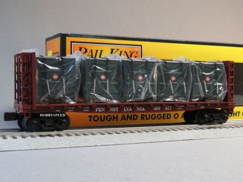MTH-RAILKING-PRR-BULKHEAD-FLATCAR-LCL-CONTAINERS-o-gauge-train-flat-car-30-76603