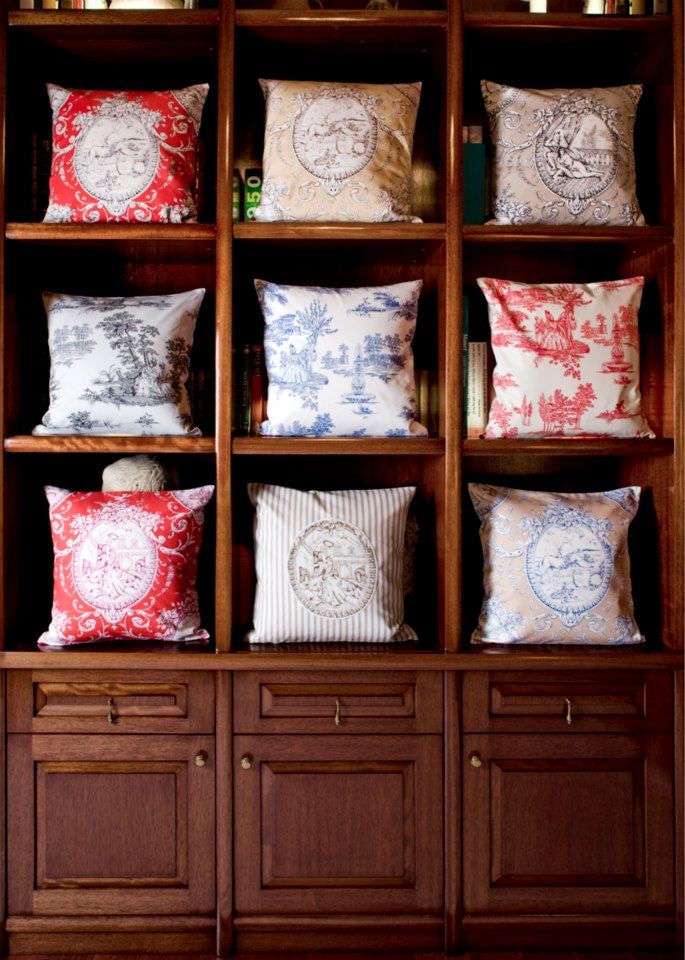 An exquisite variety of cushions: On the first shelf we have 3 cushions with prints inspired by the Ottoman Empire - Hasbahce Design On the second shelf we have 3 cushions with prints of Zevk-u Sefa Design