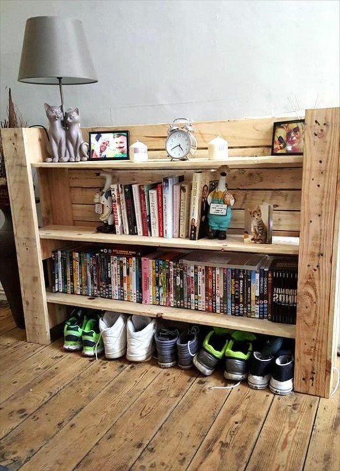 meuble en palette de bois, chausseurs, films en dvd