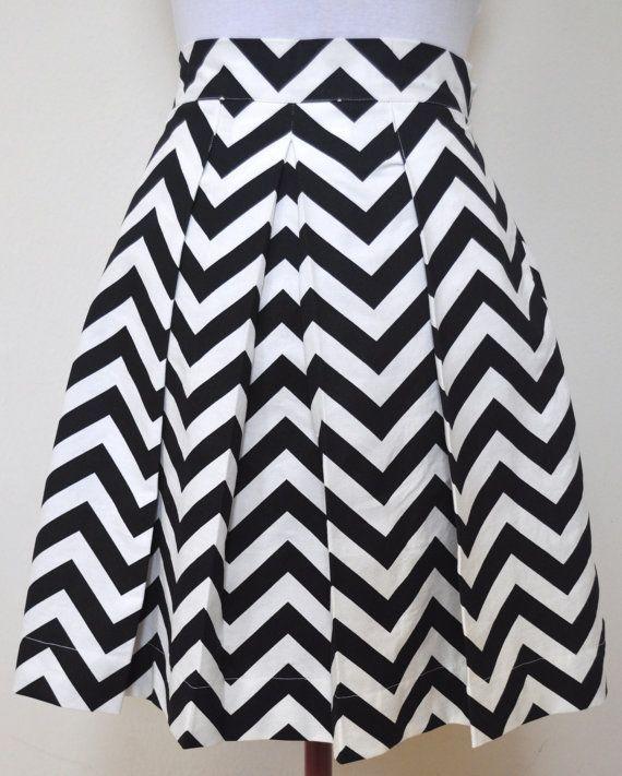 Black and White Chevron Skirt