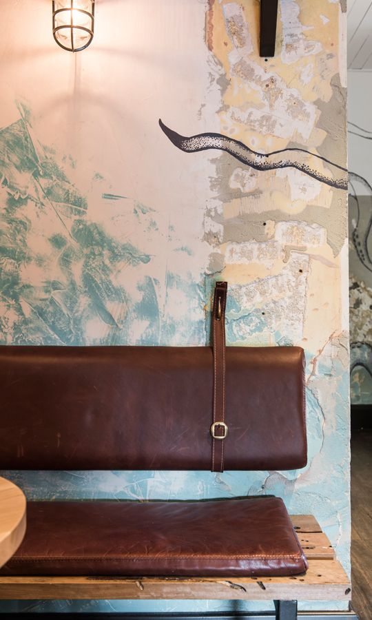 rustic and industrial bar design in Australia, The Nelson - eather bench cushion detail