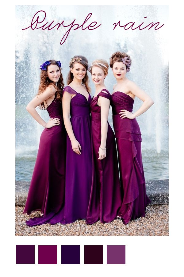 2014 wedding color trend is radiant orchid. These bridesmaids are ...
