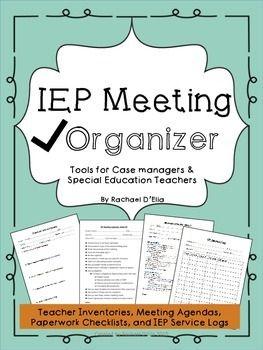 IEP organization- checklists, agendas, etc.!