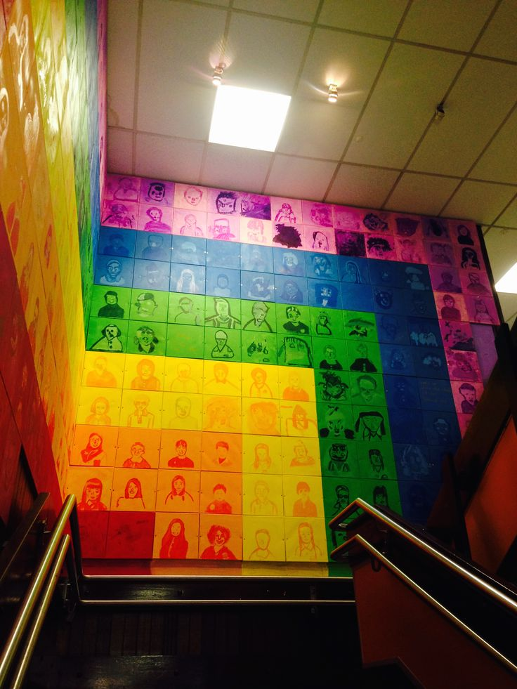 Pop Art Portraits. Every kid in the school from Prep to Grade 6 contributed a 30x30cm canvas painted in colour tints to be installed in the school stairwell.