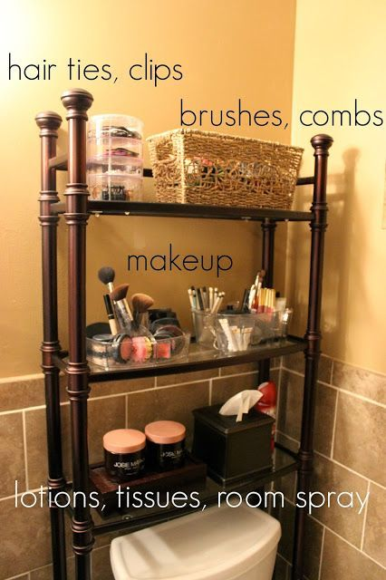 Organize your bathroom with a  shelf and maximize the room in your small bathroom. | Storage and Organization