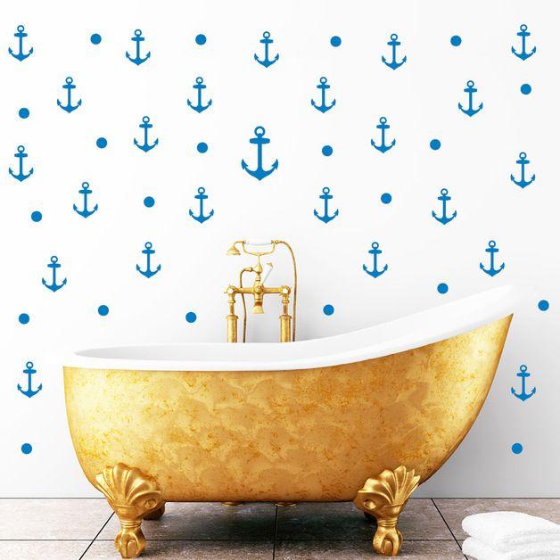 Maritime style / maritime decoration / maritime living / maritime DIY / maritime style: wall tattoo / wall decoration / bathroom