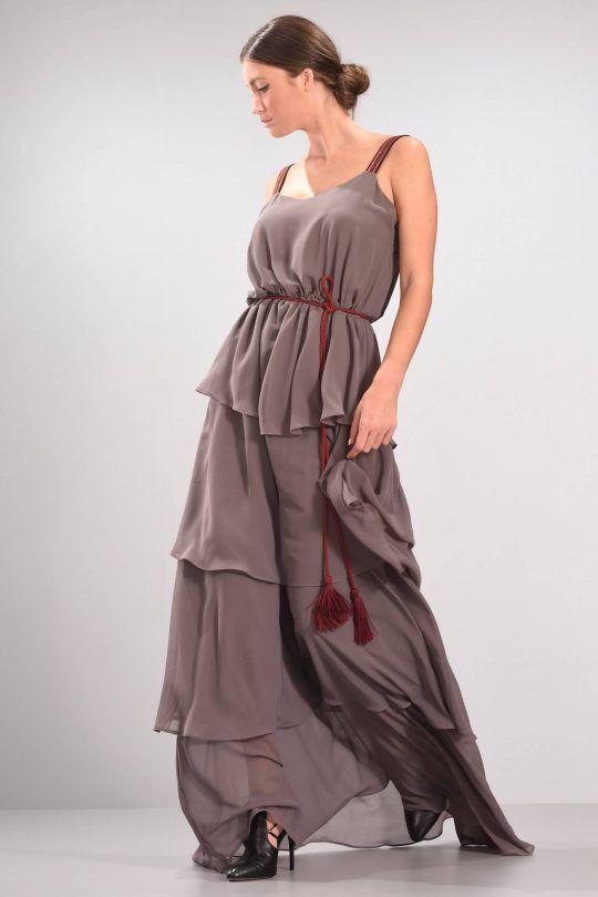 C-THROU Exclusive Pre-Fall 2016-17 - Bordeaux Strap Georgette Long Gown