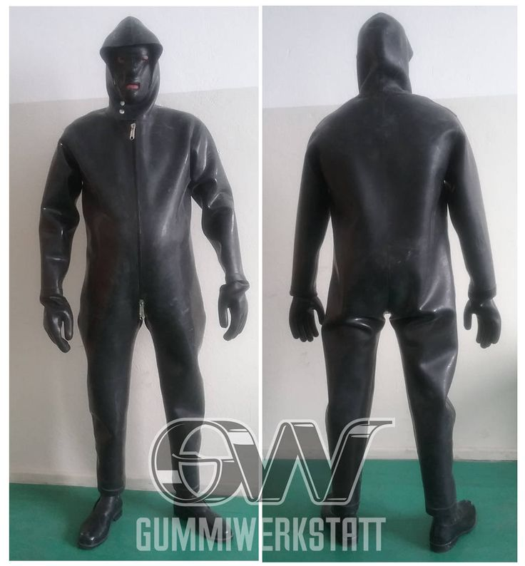 Loose fitting rubber suit with attached rubber boots and hood! The suit is made out of 1,5 mm heavy natural rubber. Easy entry through a 3-way front zip. The attached hood can be closed with two press buttons up to the chin. As the fit is very fluffy you can wear (multi layer) skintight latex or a