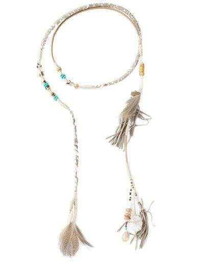 Etro Long Wrap Feather Tassel Necklace