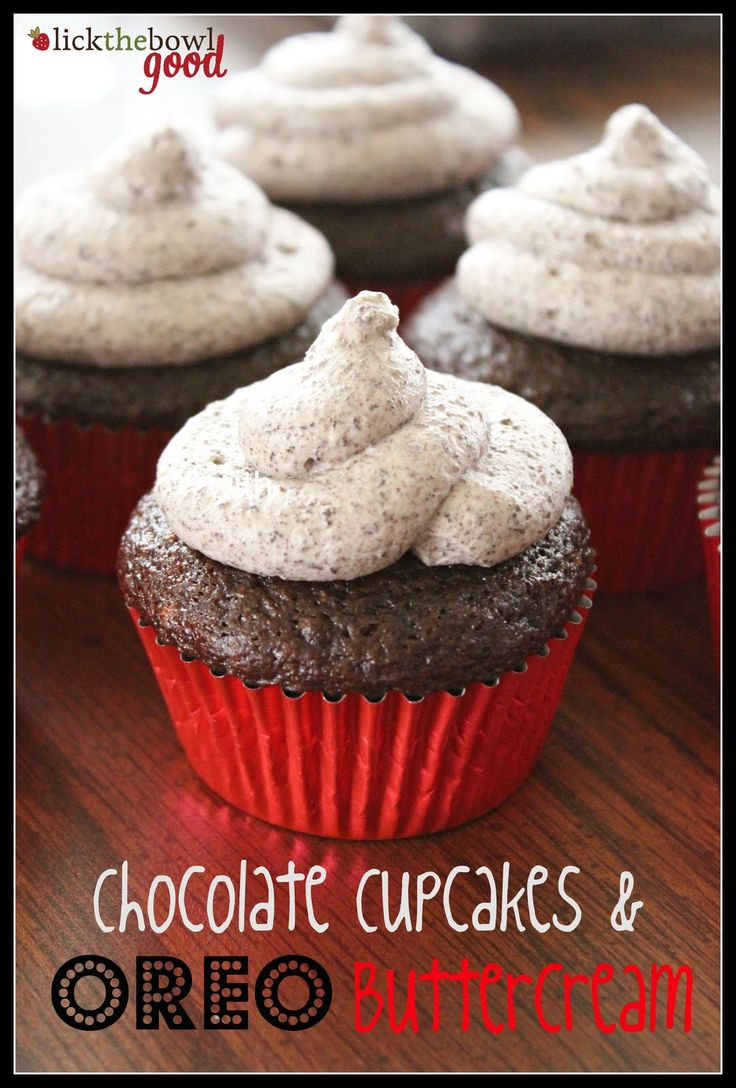 Hershey's perfectly chocolate cupcakes (best chocolate cake ever) with Oreo buttercream icing. Yum