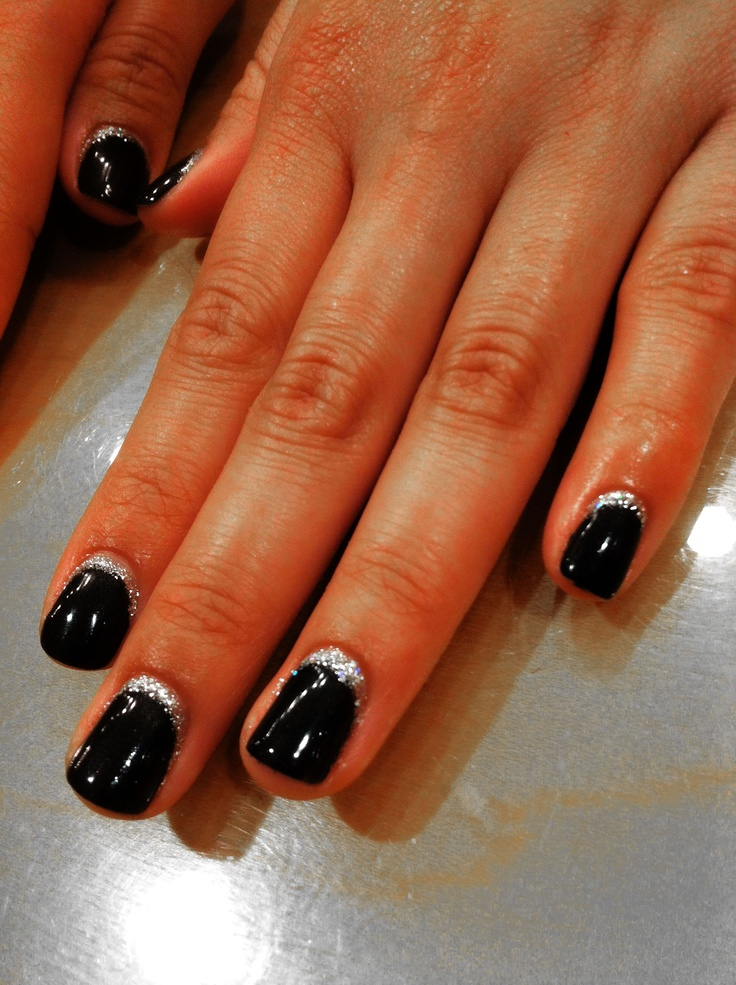 Black Onyx Shellec polish with Gellish glitter along the cuticles.
