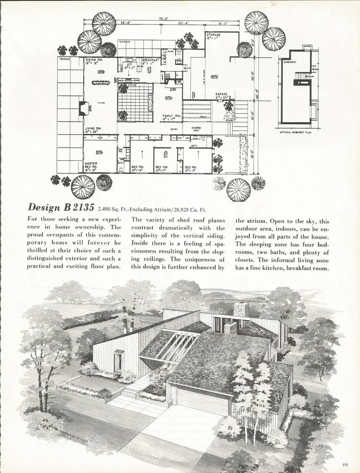 3216 best mid century floor plans images on pinterest for Mid century floor plans