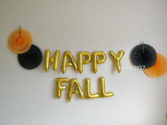 HAPPY FALL 16\u0027\u0027 Rose ,Gold Silver Banner Balloons Halloween decor