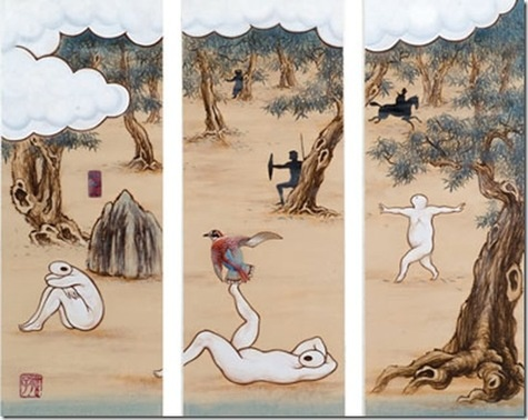 Guan Wei (China, lives in Australia), A Mysterious Land No.10 -draws on both his Chinese heritage and contemporary experiences in Australia -explores the traditions of Western historical painting and Eastern landscape painting