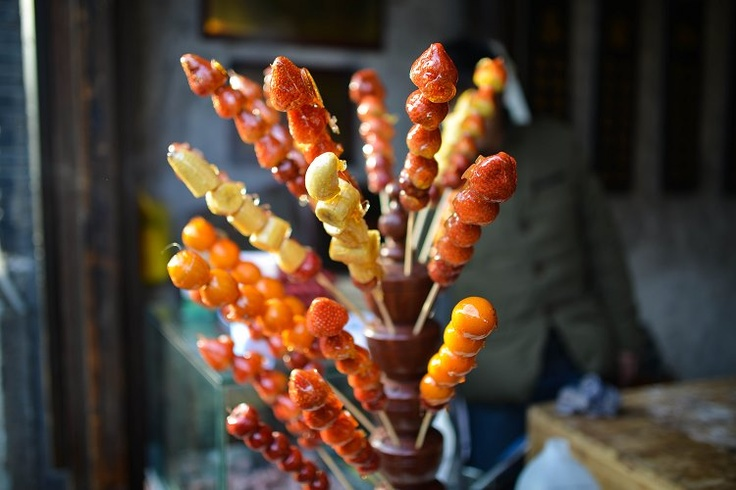 Thumbs up if you have eaten these delicious candied fruit-on-a-stick in Hangzhou, also known as Tanghulu! #hangzhou #china #dish #culture #asia #travel #explore #food #candy