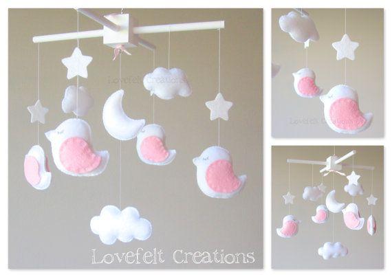 Bébé Mobile - Mobile oiseau - Mobile blanc rose - Choisissez vos couleurs:)