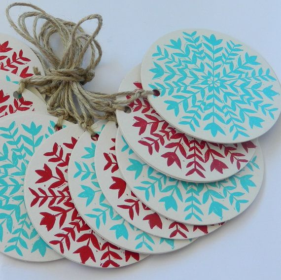 linocut/ letterpress red and aqua Christmas by rubyvictoria