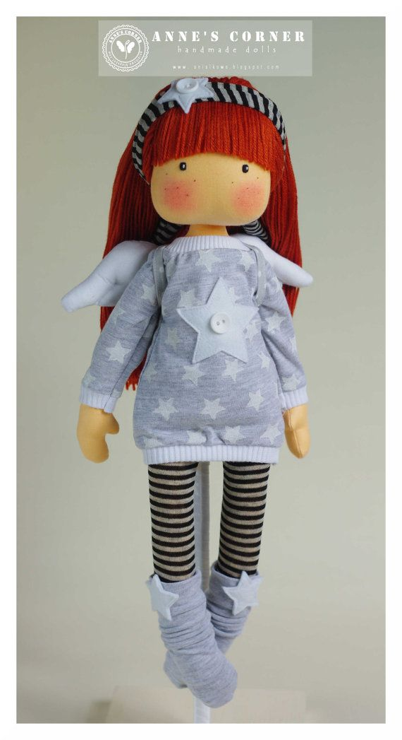 Susie angel with wings  hand made rag doll  by by AnneCorner                                                                                                                                                                                 Más