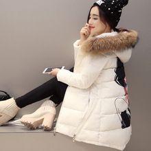 НОВАЯ Зимняя Куртка Женщин С Капюшоном Меховой Воротник Пуховик женщин Женщины печати Зимнее Пальто Ватные Куртки Женщины Парка Пальто Макси C2552(China (Mainland))