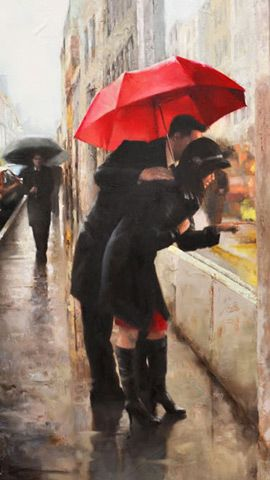 Window shopping and the red umbrella