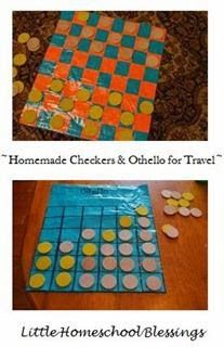 Little Homeschool Blessings: Homemade Checker's and Othello Game for Travel