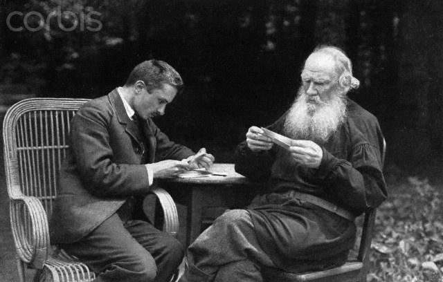 Walentin Fjodorowitsch  Bulgakov y Leo Tolstoy,1910. Fotografía de V Schertkov