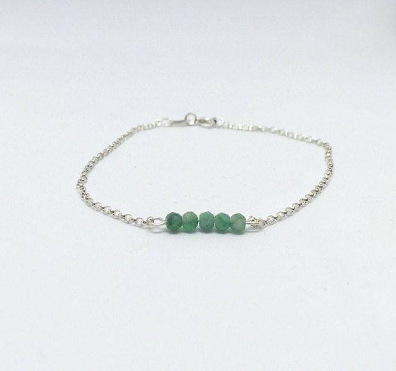 Emerald bracelet 925 sterling silver emerald bracelet