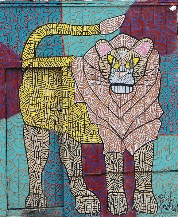 Location: Steiner @Haight Street in San Francisco, CA. Artist: Michael Kershnar. , Lion. | Street Art SF