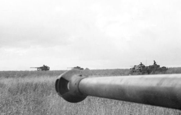 German panzers near Prokhorovka. The Battle of Prokhorovka was fought on the Eastern Front during WW2 as part of the Battle of Kursk in the Soviet Union. The 5th Guards Tank Army of the Soviet Red Army attacked the II SS-Panzer Corps of the German Wehrmacht in one of the largest tank battles in military history. Bundesarchiv Bild 101I-022-2950-15A