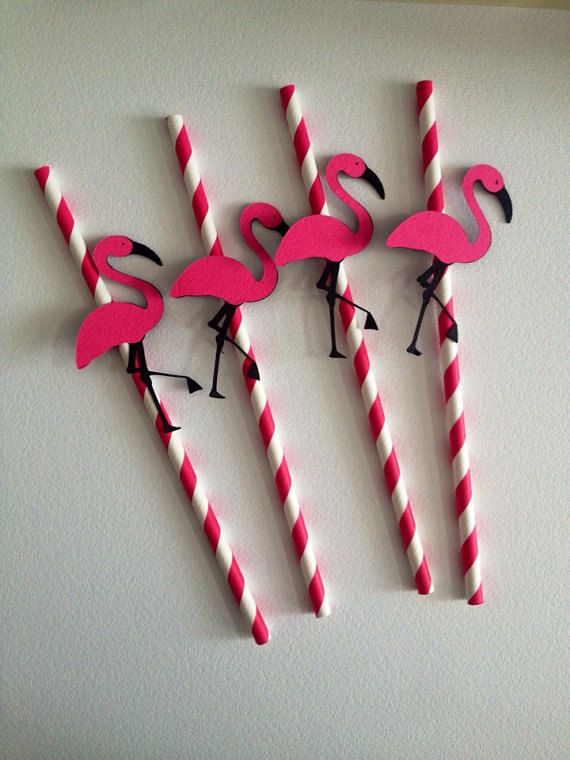 Flamingo Party Straws, Flamingo Party, Door Sign, Banner, Name Banner, cupcake Topper