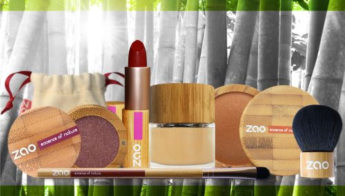 """Zao Organic Cosmetics w/Refill System - website says: """"Our continued commitment to creating beauty with a conscience, means that we have given a great deal of thought, not only to the quality of our makeup, but the packaging we created to protect it. We use controlled harvested, renewable and sustainable bamboo."""""""