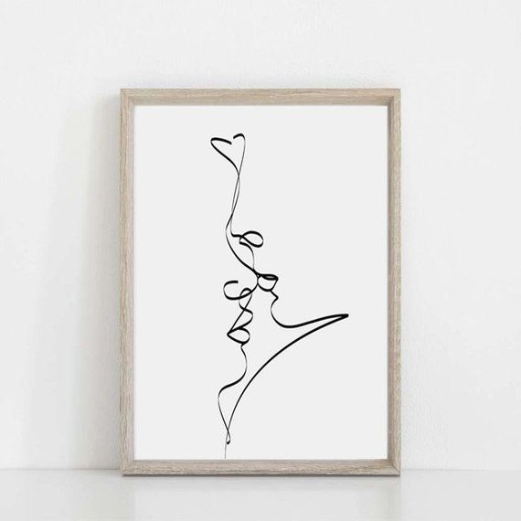 Kiss Print Love Drawing Couple Line Art Digital Download Sketch Poster Romantic Gifts Single Line Ar – Etsy