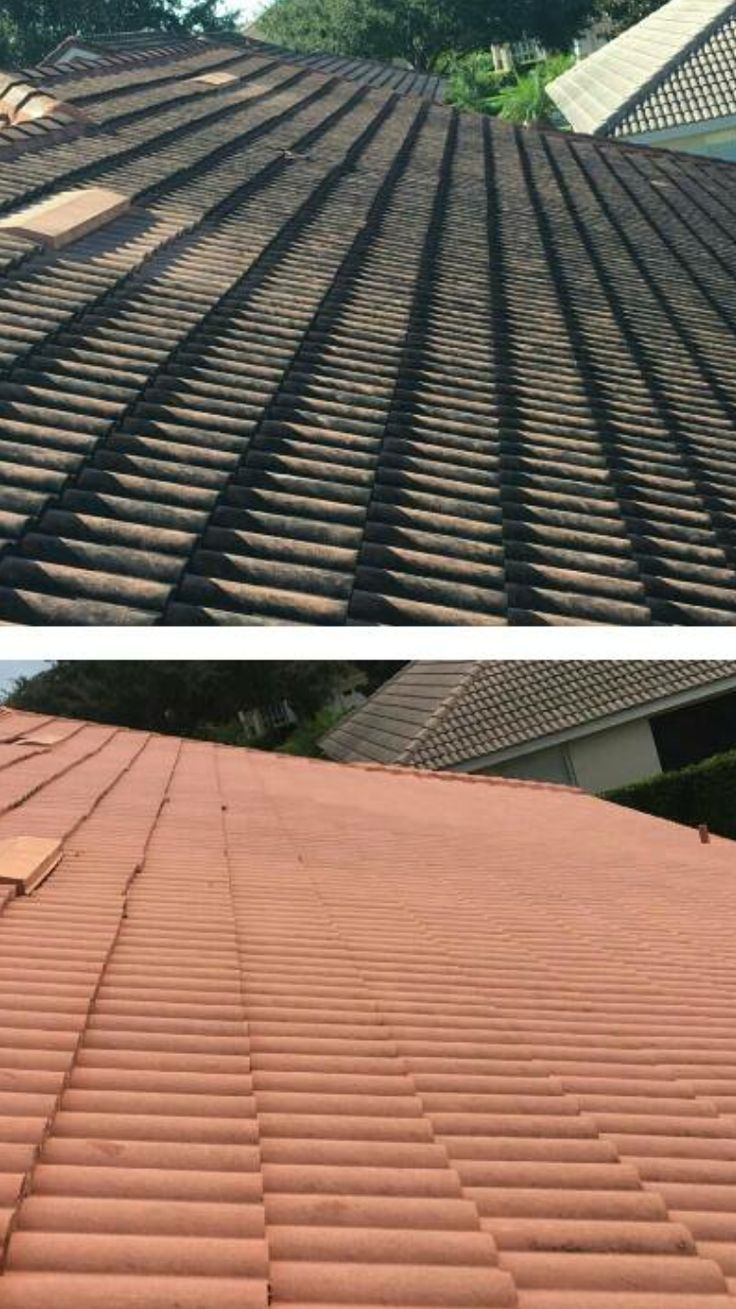 Before and after roof cleaning in Brisbane by Waterworx Pressure Cleaning.