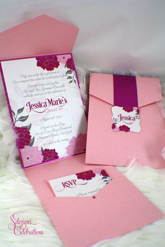 Flowers and Glitz Birthday Invitations | Bat Mitzvah | Sweet Sixteen | Quincea�era | Glitter | Glam | Fabulous | Wedding | Pink | Fuchsia